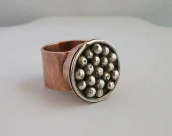 Unique Hand forged copper  and sterling silver ring- copper jewelry - copper ring - hammered copper- size7.5 US- mixed metal jewelry