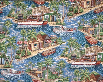 Blue and Green Fun Retro Style Seaside Village Scenic Print Pure Cotton Fabric--By the Yard