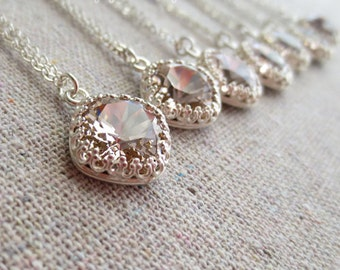 Swarovski Blush Pink Light Pale Rose Cushion Cut Princess Square Crystal Crown Silver or Rose Gold Necklace Bridal Jewelry Bridesmaids Gifts