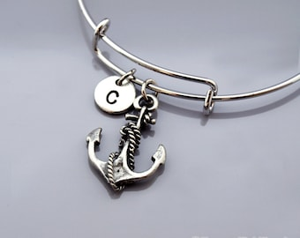 Anchor and rope bangle, Nautical bracelet, Expandable bangle, Personalized bracelet, Charm bangle, Monogram, Initial bracelet