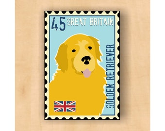 Golden Retriever Magnet Postage Stamp Art 2 x3