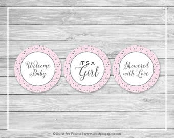 Pink and Silver Baby Shower Cupcake Toppers - Printable Baby Shower Cupcake Toppers - Pink and Silver Baby Shower - Cupcake Toppers - SP150