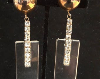 Vintage Lucite and Rhinestone Dangle Earrings