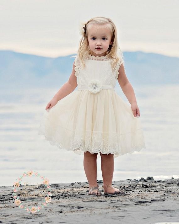 Ivory lace flower girl dress country rustic flower girl mightylinksfo