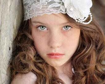 White Rose Headband, Flower Girl Headband, White Bridal Headband, White Lace Headband, Wedding Headband, White Wedding, White Flower