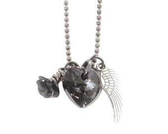 FREE SHIPPING USA, Ivy, Swarovski Necklace, Angel Wing Necklace, Mother Daughter, Father Daughter, Necklace, Heart Pendant, Swarovski,