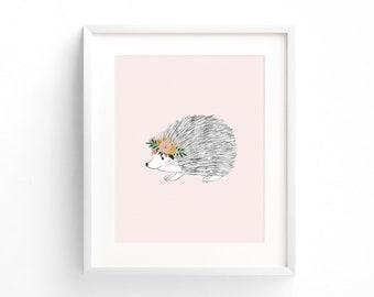 Pink Porcupine Wall Art, Woodland Nursery Art Prints, Porcupine Print, Woodland Animals Nursery Decor, Printable Wall Art, Baby Girl Gift