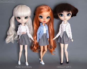 3 piece set Gray skirt, T-Shirt, Shirt with collar for Pullip, Pure Neemo, Azone, Blythe, Dal, Obitsu 27 dolls