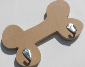 Dog Bone Hanger with Hooks - Use as a Base for Mosaics Decoupage or Decorative Painting - Unfinished MDF
