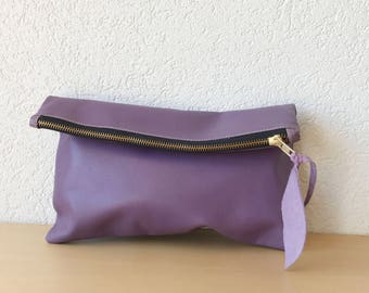 Purple Leather Clutch. Lavender Leather Pouch, Purple Leather Bag, iPad Leather Case, Tealine Leather Bag in Italian Leather. Makeup Bag.