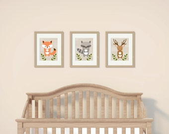 Cute Woodland Animal Nursery Wall Art / Woodland Animal Nursery Art / Forest Animal / Fox / Deer / Raccoon / PRINTABLE Instant Download A187