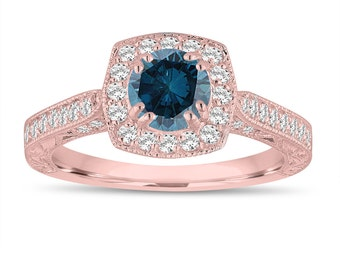 Fancy Blue Diamond Wedding Ring, Engagement Ring 1.16 Carat 14K Rose Gold Vintage Antique Style Hand Engraved Halo Pave