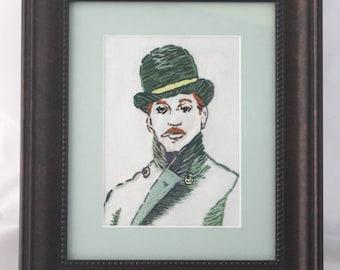 Original Embroidered Smoking Gentleman / Art / Home Decor - Green