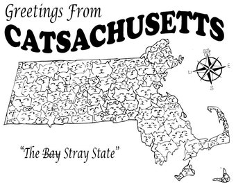 Catsachusetts Postcard - Massachusetts Souvenir Postcard