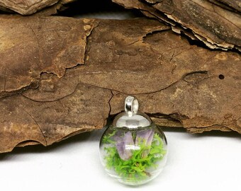 Real moss romantic flower necklace