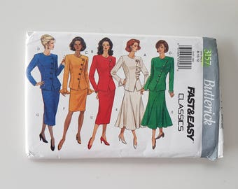 """Asymmetric Closing Jacket and Skirt Suit Sewing Pattern Princess Seams Vintage 90s Size 8 10 12 Bust 31.5-34"""" (80-87 cm) Butterick 3157"""