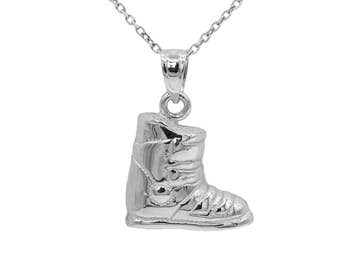14k White Gold Snow Boot Necklace