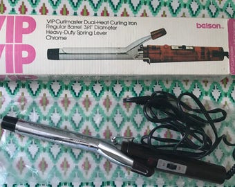 Belson VIP Curlmaster dual heat curling iron, vintage curling iron, 3/4 chrome iron, 80's curling iron