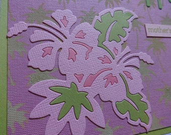 Tropical Mother's Day card with hibiscus flowers and palm trees: Happy Mother's Day