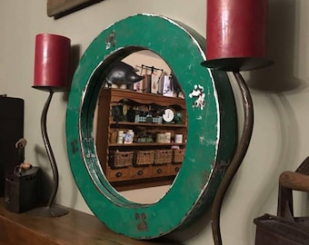 Reclaimed Small Round Metal Steel Industrial Mirror
