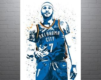 Carmelo Anthony Oklahoma City Thunder, Sports Art Print, Basketball Poster, Kids Decor, Watercolor Abstract Drawing Print, Modern Art