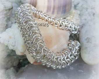 Round chainmaille Bracelet, Roundmaille Bracelet, Argentium Silver Bracelet, Sterling Silver Jewelry,