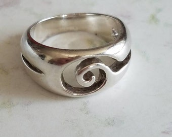 Vintage Sterling Silver Ring Swirl Spiral Negative Space 925 Size 7.75