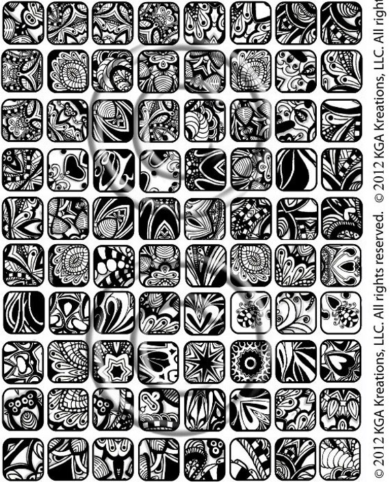 Instant PDF Download Zentangle Inspired Collage Sheet 40 40x40 Inch Beauteous Zentangle Patterns Pdf