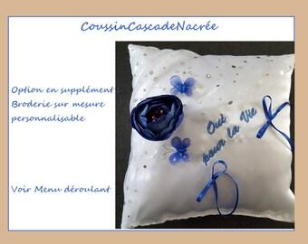 Embroidery custom Coussincascadenacree option: names & wedding Dates or initials, words personalized custom made satin