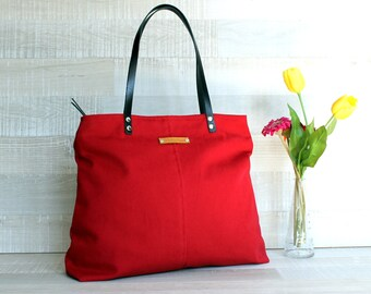 Genuine Leather Straps, Canvas Handbag, Large Shoulder bag, Diaper bag, Classy Hobo Bag, Red, ZIPPER CLOSURE, laptop bag, everyday bag
