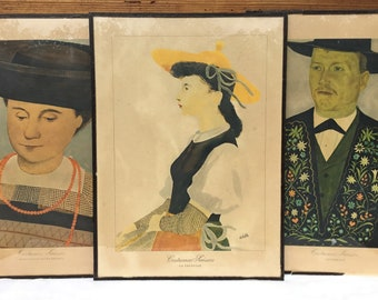 Set of 3 Framed Vintage Swiss Folk Costume Lithographs by Kurt Wirth
