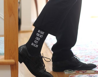 In Case You Get Cold Feet and Several Other Originally Designed Groom Socks Custom Printed with the Wedding Date, Sold by the Pair