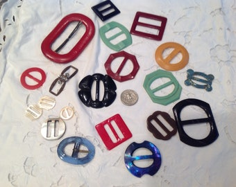 Vintage buckles, assorted group of 20.   Group 1