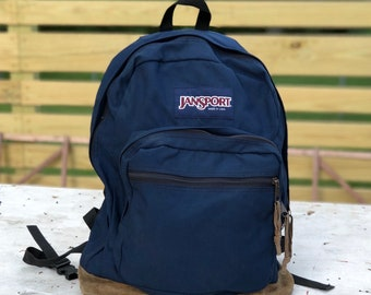 Iconic Navy Blue Jansport Backpack Leather and Nylon Made in the USA