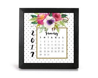 2017 Floral Polka Dot Cubicle Calendar
