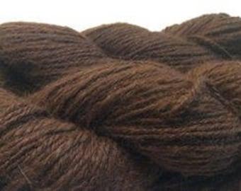 100% Suri Combed Yarn, Suri Alpaca Yarn, Combed Yarn, Medium Brown