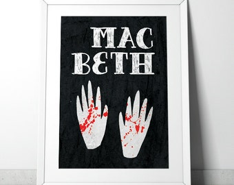 Macbeth Poster - Minimalist, mid-century modern monoprint style Shakespeare - A4 giclee print