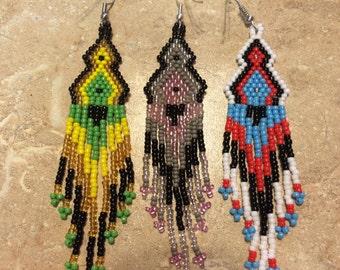 Long Tri-Color Seed Bead Earrings
