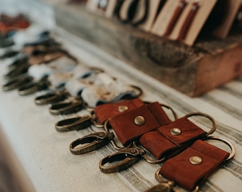 Leather Key Ring - Oil Tanned Leather Keychain