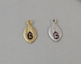 Add A Leaf charm,Sterling Silver,Gold Filled,Initial,Monogram,Letter,Personalize,Rustic,leaf,Leaves,Personalized leaf,personalized locket