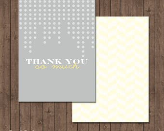 Gray & Yellow Baby or Bridal Shower Matching Thank You Card, Gray/yellow themed Thank You card, Thank You So Much
