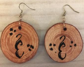 Custom Woodburned Earrings
