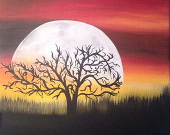 Moon in the African Sky - 10x10 Original Acrylic Painting