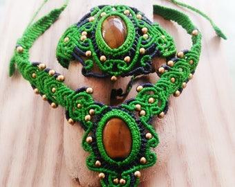 Forest Green Macrame Necklace and Bracelet Set Tiger Eye