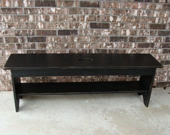 Rustic Bench, Entryway Bench, Storage Bench, Shoe & Boot Storage Bench French Country Modern Bench Custom Black