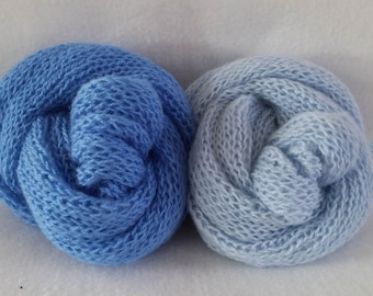 Light blue and blue hand knitted baby wrap or set/ unique photo prop/ twins