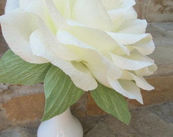 Giant Paper Flower/Giant Paper Rose/Wedding Decoration/ Wedding Bouquets/ Table Flower Decoration/ Ivory Rose