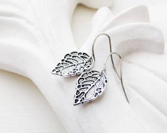 Dainty Silver Leaf Earrings   Silver Earrings