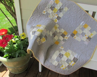 Handmade gray and yellow baby boy quilt, gray and yellow nursery decor, car seat quilt, gender neutral grey and yellow crib quilt