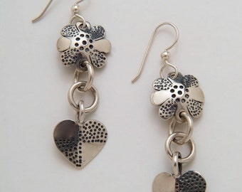 Flower and Heart Earrings made from Vintage Silver American Dime Coins